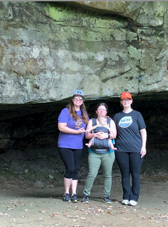 Akron, Ohio  Women In Tech Fall Hike.  Three of us next to a rock formation.